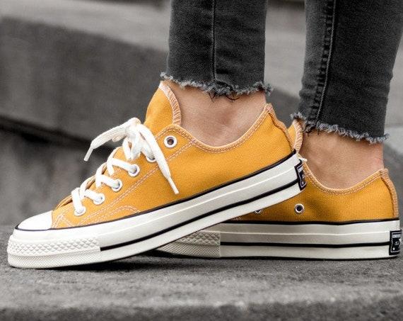 Gold Yellow Converse 70s Low Tops Sunflower Mustard Kicks w/ Swarovski Crystal Rhinestone Chuck Taylor All Star Bridal Wedding Sneakers Shoe