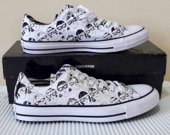 03c40c825e37 Silver Converse Andy Warhol White Black Specs Gray Collector Sun Glasses  Custom w  Swarovski Crystal Chuck Taylor All Star Sneakers Shoes