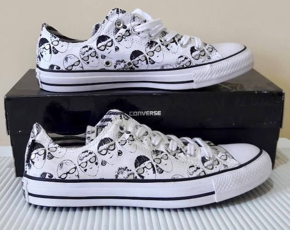 Silver Converse Andy Warhol White Black Specs Gray Collector Sun Glasses Custom w/ Swarovski Crystal Chuck Taylor All Star Sneakers Shoes