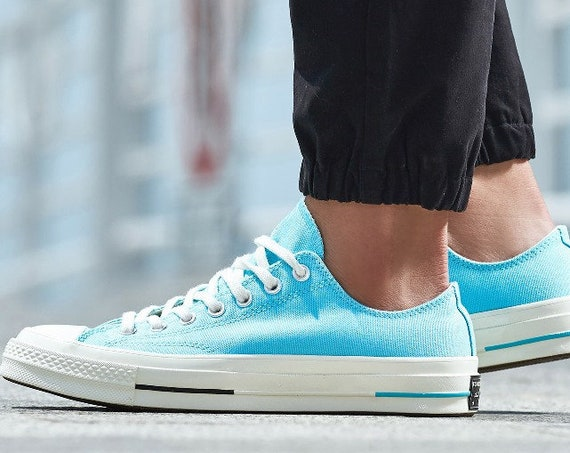 Baby Blue Converse 70s  Spring Low Top Aqua Turquoise w/ Swarovski Crystal Rhinestone Kicks Chuck Taylor All Star Bride Wedding Sneaker Shoe