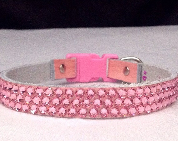 """Custom Pink Leather Pet Collar 8-21"""" Swarovski Crystal Buckle or Breakaway Safety style Bling Baby Girl Light Rose Kitty Cat Dog Jewelry"""
