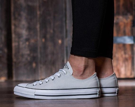 Gray Converse Low Top Mouse Grey Canvas Wedding Kicks Bling w/ Swarovski Crystal Jewel Rhinestones Chuck Taylor All Star Bride Sneakers Shoe