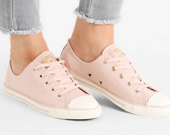 Pink Converse Dainty W US 10 Blush Daybreak Leather Gold Wedding Bride Slip ons w/ Swarovski Crystal Rhinestone Chuck Taylor Sneakers Shoe