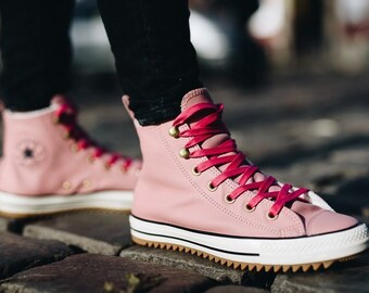 Pink Sheerling Wool Fur Converse High Top Hiking Boot Wedding Chuck Taylor w   Custom Swarovski Crystal Bling All Star Bride Sneakers Shoes 42130c047