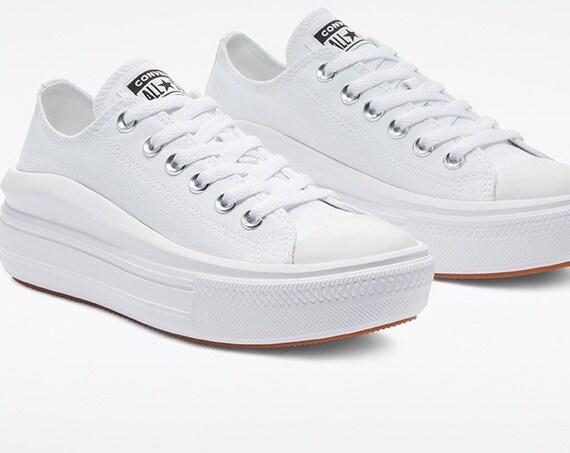 White Converse Move Mono Low Top Boot Platform Lift Club Kicks w/ Swarovski Crystal Rhinestone Chucks Taylor Wedding Bride Sneakers Shoes