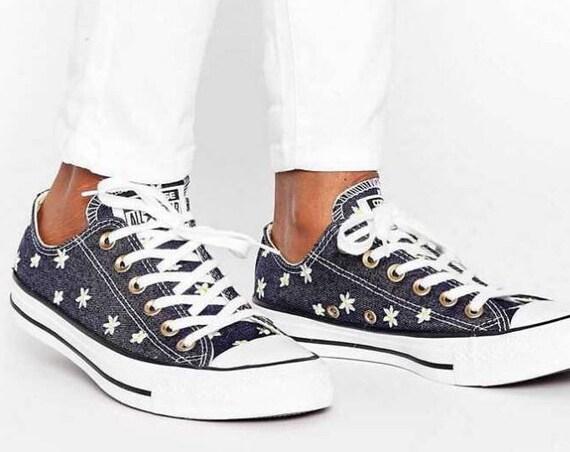 Navy Blue Converse W US 9.5 Jean Denim Wedding Daisy Floral Low Top w/ Swarovski Crystal Rhinestone  Chuck Taylor All Star Sneakers Shoes