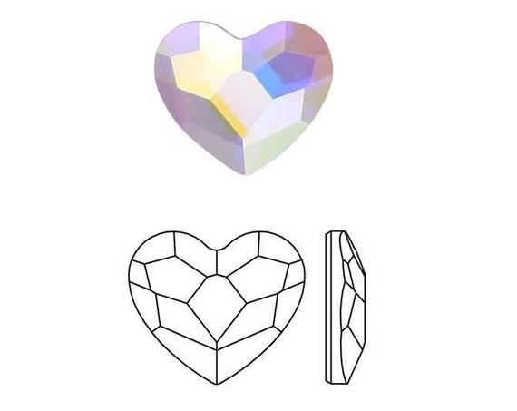 Tiny Heart Earrings 6mm Custom Swarovski Crystal AB set Wedding Jewel Rhinestone w/ Silver Titanium Steel Post Hypo Minimalist Stud Gift