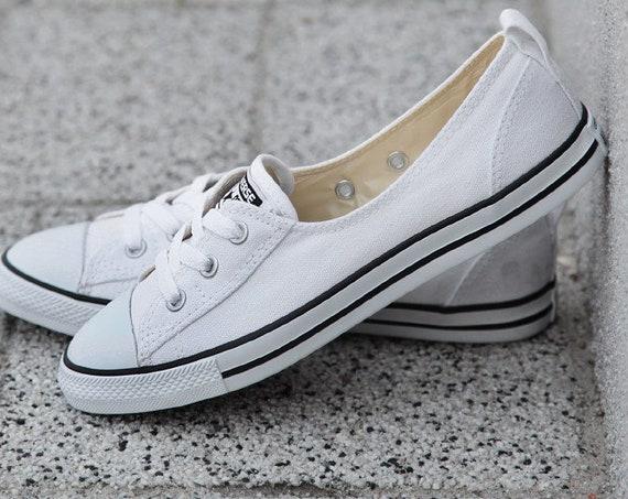 Slip on Ballet White Converse Low Top Bridal Lace Bride Custom w/ Swarovski Crystal Chuck Taylors Rhinestone All Star Wedding Sneakers Shoes