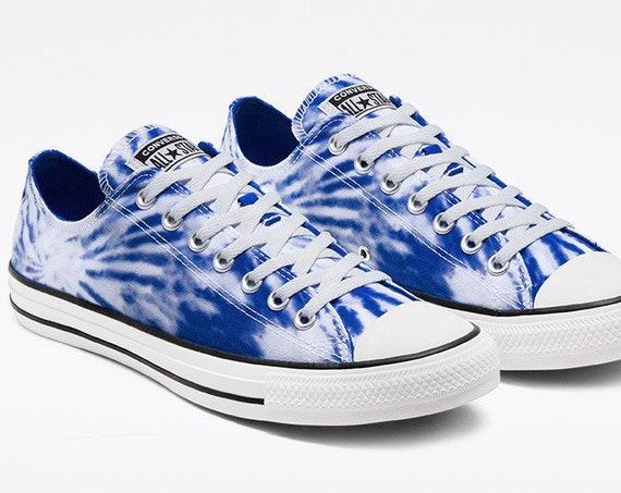 Royal Blue Converse Tie Dye Splash Sapphire Twisted Custom w/ Swarovski Crystal Chuck Taylor Rhinestone All Star Wedding Sneakers Bride Shoe