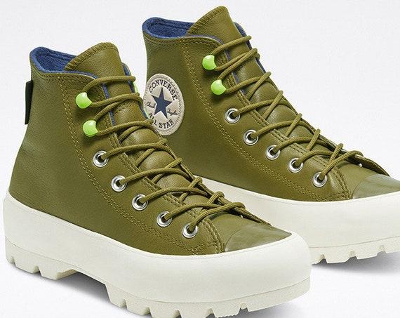Army Green Platform Converse Leather Gor Tex Boot Wedge High Lugged Club Kicks w/ Swarovski Crystal Rhinestone Chucks All Star Sneaker Shoes
