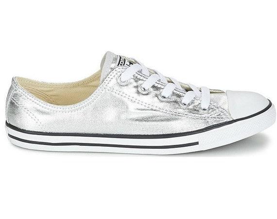 Silver Converse Dainty Metallic Gray Custom Bridal Slip ons Wedding Reception Flat w/ Swarovski Crystal Chuck Taylor All Star Sneakers Shoes