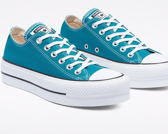 Teal Blue Green Spruce Converse Platform lift heel wedge Low Top Club w/ Swarovski Crystal Rhinestone Chuck Taylor All Star Sneakers Shoes