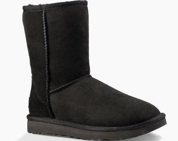 Black UGG Boots Jet Noir Australia Classic Short Slip on Boot w/ custom Swarovski Crystal Bling Winter Dynamite Rhinestone Ladies Shoes Gift