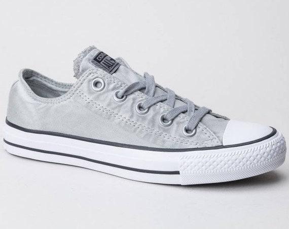 Gray Satin Silver Converse Low Wash Custom Grey w/ Swarovski Crystal Rhinestones Grey Chuck Taylor All Star Wedding Bride Sneakers Shoes