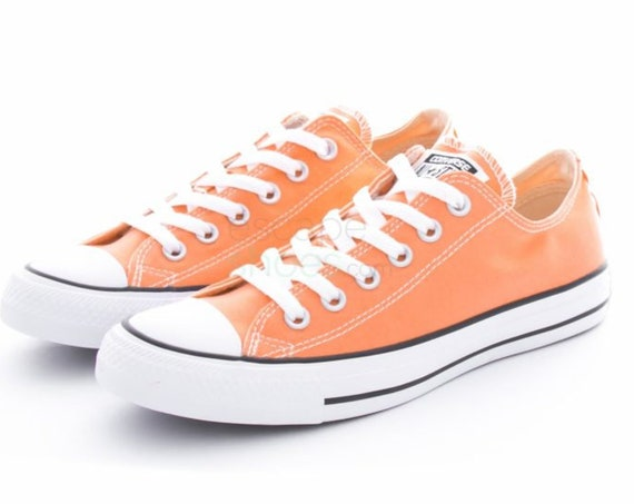 Peach Converse Low Top Kicks Custom Rose Gold Sunset Apricot Swarovski Bling Crystal Rhinestone Chuck Taylor All Star Wedding Sneakers Shoes