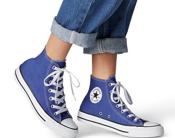 Indigo Blue Converse High Top Washed Custom Crystal Bling Chuck Taylor w/ Swarovski Rhinestones All Star Jewels Wedding Sneakers Bridal Shoe