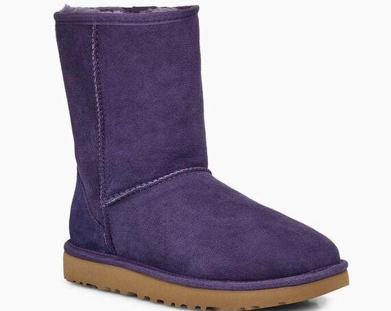 Purple UGG Boots Nightshade Australia Classic Short Slip on Boot w/ custom Swarovski Crystal Bling Winter Dynamite Rhinestone Lady Shoe Gift