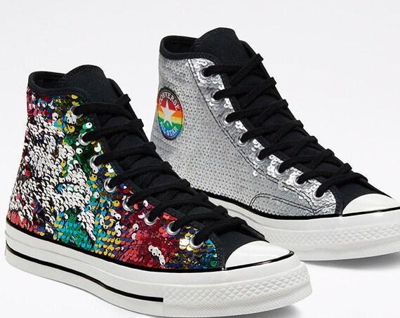 Silver Sequins Converse 2020 Pride High Top 70 Gay LGBTQ Mens Rainbow Black Glitter Chuck Taylor w/ Swarovski Crystal All Star Sneakers Shoe
