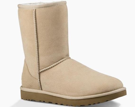 Cream White UGG Boots Sand Australia Classic Short Slip on Boot w/ custom Swarovski Crystal Winter Dynamite Rhinestone Ladies Shoes Gift
