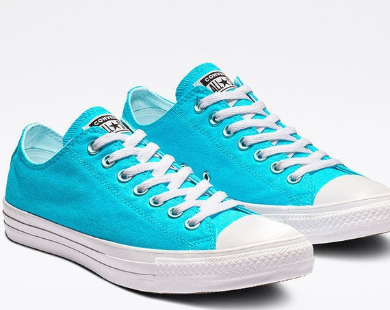 Aqua Blue Turquoise Converse Low Stonewash Silver Custom w/ Swarovski Crystal Rhinestone Bling Chuck Taylor All Star Wedding Sneakers Shoes
