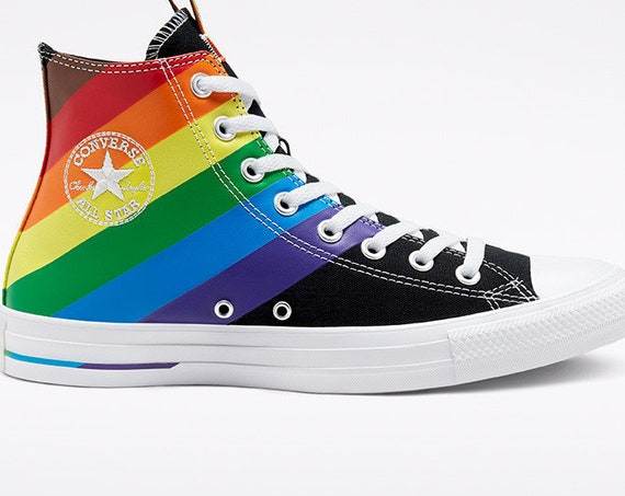 Black Converse Pride 2020 High Top LGBTQ Gay Rainbow Collector Mens Chuck Taylor Custom w/ Swarovski Crystal Bling All Star Sneakers Shoes