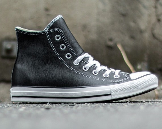 Black Leather Converse High Top Custom Groom Bride Wedding Men w/Swarovski Crystal Rhinestone Bling Jewel Chuck Taylor All Star Sneaker Shoe
