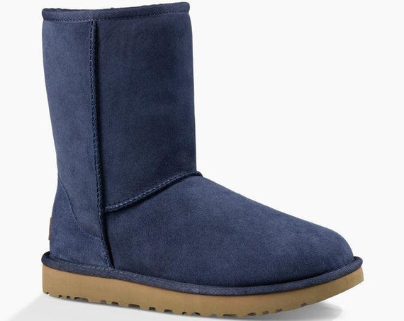 Blue UGG Boots Navy Australia Classic Short Slip on Boot w/ custom Swarovski Crystal Bling Winter Dynamite Rhinestone Ladies Shoes Gift
