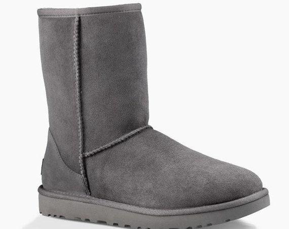 Gray UGG Boots Seal Grey Australia Classic Short Slip on Boot w/ custom Swarovski Crystal Bling Winter Dynamite Rhinestone Ladies Shoes Gift