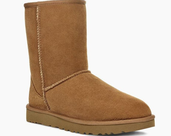 Chestnut UGG Boots Tan Australia Classic Short Slip on Boot w/ custom Swarovski Crystal Bling Winter Dynamite Rhinestone Ladies Shoes Gift