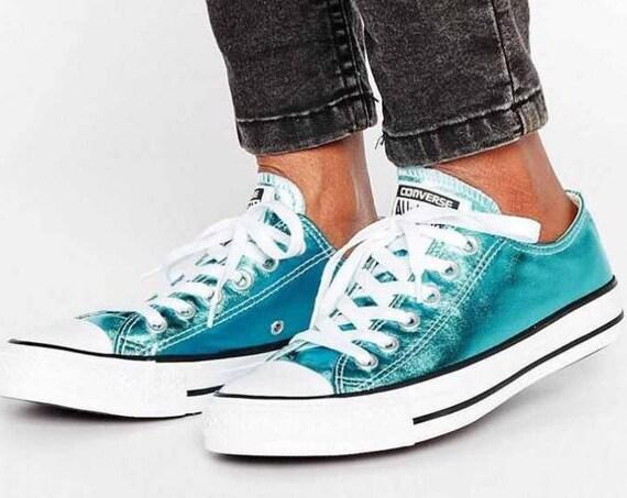 Blue Converse Low Top Turquoise Teal Aqua Metallic Chuck Taylor Custom w/ Swarovski Crystal Rhinestones Jewel Bling All Star Sneakers Shoes
