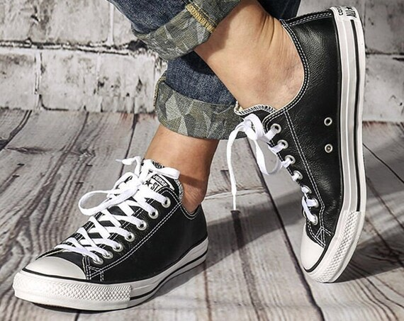 Black Leather Converse Ladies Mens Low Top Bling w/ Swarovski Crystal Rhinestone Custom Chuck Taylor All Star Jewel Wedding Sneakers Shoes