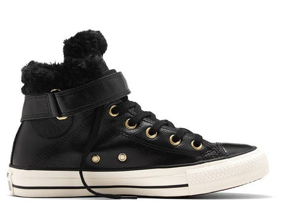 Black Converse High Tops Fur Leather Boot W US 8 w/ Swarovski Crystal Rhinestone Bling Wedding Chuck Taylor All Star Bride Sneakers Shoes
