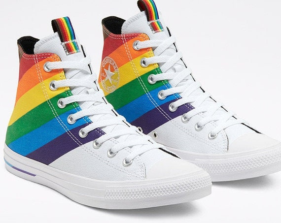 White Converse Pride 2020 High Top LGBTQ Gay Rainbow Collector Mens Chuck Taylor Custom w/ Swarovski Crystal Bling All Star Sneakers Shoes