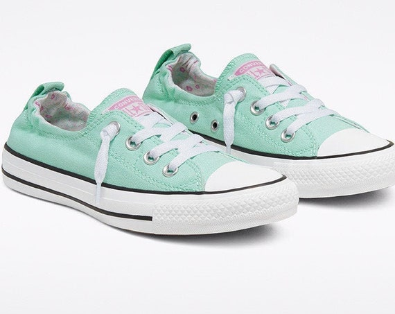 Mint Green Converse Aqua Shoreline Slip on Sea foam Low Flower w/ Swarovski Crystal Chuck Taylor Rhinestone All Star Wedding Sneakers Shoes