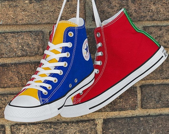 Color Block Converse W 7.5 Rainbow High Top Canvas Blue Green Red Yellow Chuck Taylor w/ Swarovski Crystal All Star Sneakers Basketball Shoe