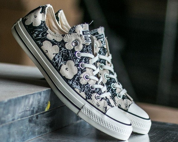 Converse Andy Warhol W 7.5 Cream Black Floral Ivory RARE Collector Flower Custom w/ Swarovski Crystal Chuck Taylor All Star Sneakers Shoes
