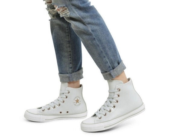 Gray Crystal Converse High Top Leather Grey Platinum Brass Gold w/ Swarovski Rhinestone Bling Chuck Taylor All Star Wedding Sneakers Shoes