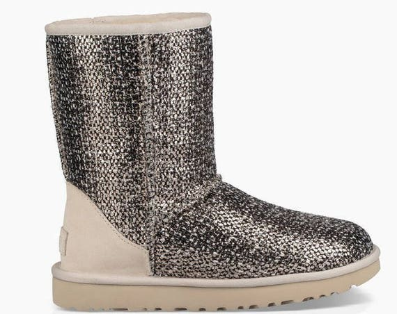 Rose Gold Metallic Bronze UGG Boots Cream Ivory Short Slip on W US Size 8 Ladies Teen gift w/ Swarovski Crystal Rhinestone Jewel Heel shoes