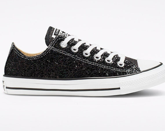 Sparkle Black Converse New Year Glitter LowTop Metallic Chuck Taylor Custom w/ Swarovski Crystal Rhinestone Bling All Star Sneakers Shoes