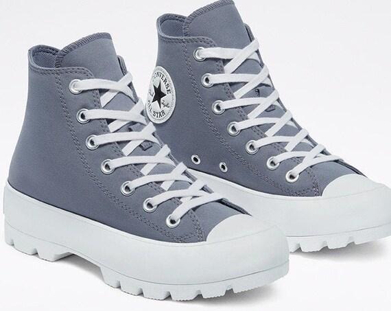 Carbon Lugged Converse Boot Platform Blue Gray Wedge High Club Kicks Custom w/ Swarovski Crystal Rhinestone Chucks Grey Hi Sneakers Shoes
