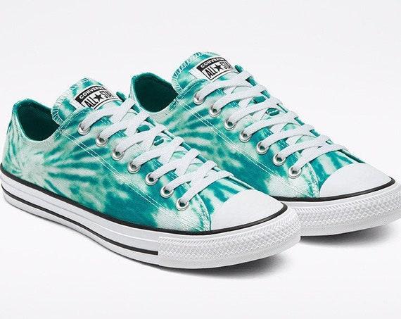 Teal Green Converse Tie Dye Splash Turquoise Aqua Blue w/ Swarovski Crystal Chuck Taylor Rhinestone All Star Wedding Sneakers Bridal Shoes