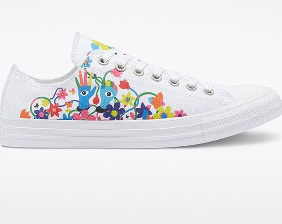Converse Pride 2021 White Low Top LGBTQ Gay Rainbow Parade Collector Mens Chucks Custom w/ Swarovski Crystal Bling All Star Sneakers Shoes