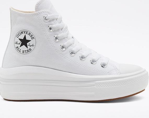 Converse Move on Mono White High Top Boots Platform Wedge Lift Club Kicks w/ Swarovski Crystal Rhinestone Chuck Taylor All Star Sneaker Shoe