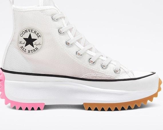 Pink Converse Run Star Hike White Boot Platform Mesh Wedge High Club Kick w/ Swarovski Crystal Rhinestone Chuck Taylor All Star Sneaker Shoe