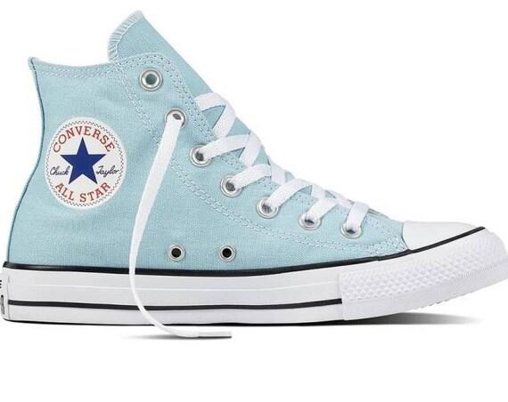 Baby Blue Converse High Top Wedding Ocean Bliss Bride Powder w/ Swarovski Crystal Kicks Bridal Bling Chuck Taylor All Star Sneakers Shoes