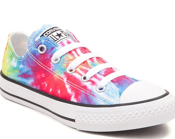 Converse Tie Dye Rainbow Pride Boho Classic Low Top w/ Swarovski Crystal Rhinestones Bling Chuck Taylor LGBTQ All Star Sneakers Shoes