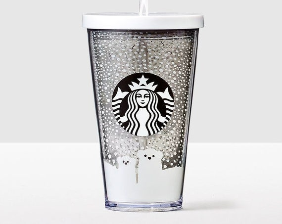 Starbucks Cold Cup Smoothie Custom Crystal Polar Bear Drink To Go w/ Swarovski Grande 16 oz Acrylic Travel Tumbler Snowflake Rhinestone Mug