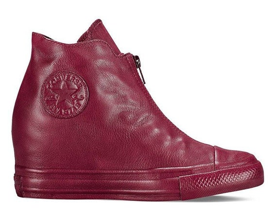 Burgundy Pink Red Converse Leather High Rise Lux Hidden Wedge Heel Shroud Zipper w/ Swarovski Crystal Chuck Taylor All Star Sneakers Shoes