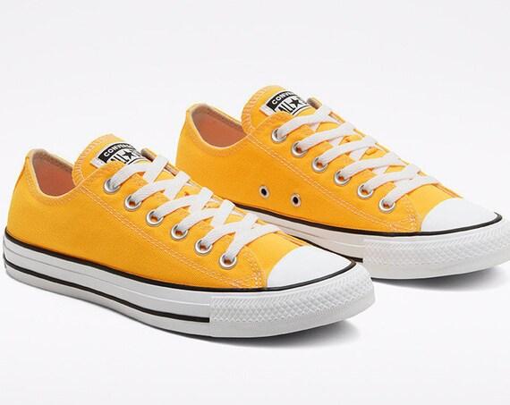 Yellow Orange Converse Low Top Men Summer Sun w/ Swarovski Crystal Rhinestone Bling Wedding Kicks Chuck Taylor All Star Bridal Sneakers Shoe