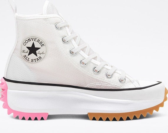 Converse Run Star Hike White Boot Platform Mesh Wedge High Top Club Kick w/ Swarovski Crystal Rhinestone Chuck Taylor All Star Sneakers Shoe